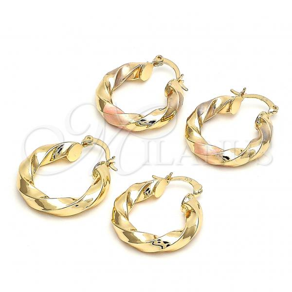 Gold Layered Small Hoop, Twist and Hollow Design, Golden Tone