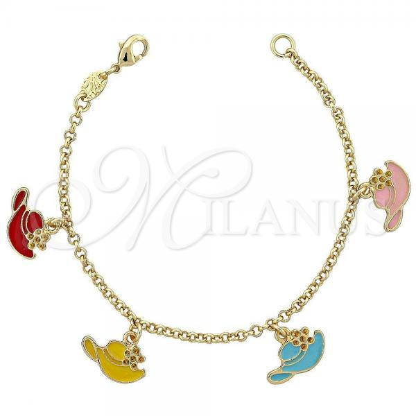 Gold Layered 03.64.0108 Charm Bracelet, Hat Design, Multicolor Enamel Finish, Golden Tone