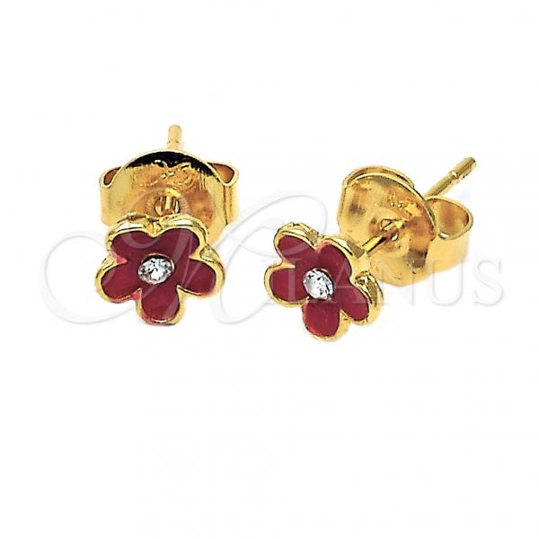 Gold Layered 02.64.0334 Stud Earring, Flower Design, with White Crystal, Red Enamel Finish, Golden Tone