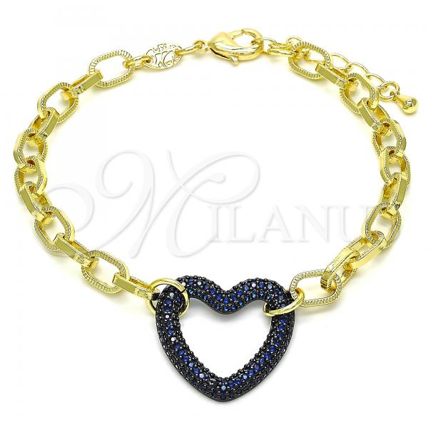 Gold Layered 03.341.0054.3.07 Fancy Bracelet, Paperclip and Heart Design, with Sapphire Blue Micro Pave, Polished Finish, Black Rhodium Tone