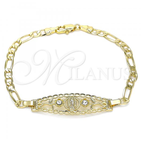 Gold Layered 03.351.0088.08 Fancy Bracelet, Guadalupe and Flower Design, with White Crystal, Polished Finish, Golden Tone