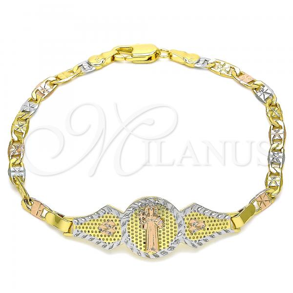Gold Layered 03.253.0052.08 Fancy Bracelet, San Benito and Heart Design, Polished Finish, Tri Tone