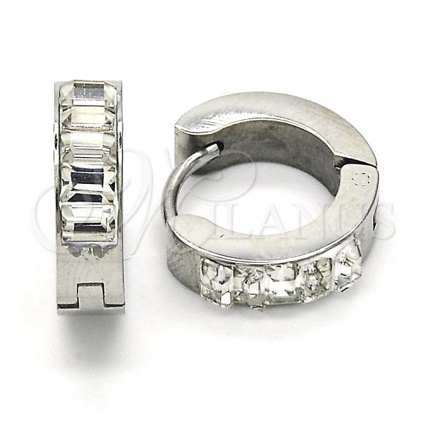 Stainless Steel 02.216.0022.15 Huggie Hoop, with White Crystal, Polished Finish, Steel Tone