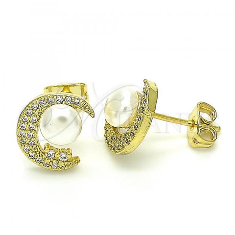 Gold Layered 02.156.0370 Stud Earring, Moon and Ball Design, with White Cubic Zirconia and Ivory Pearl, Polished Finish, Golden Tone