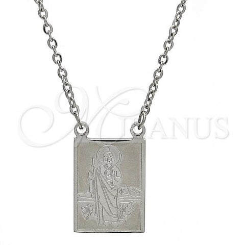 Stainless Steel 04.223.0003.20 Fancy Necklace, San Judas and Rolo Design, Polished Finish, Steel Tone