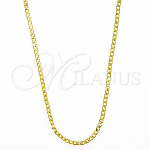 Gold Layered 5.222.008.1.18 Basic Necklace, Curb Design, Polished Finish, Golden Tone