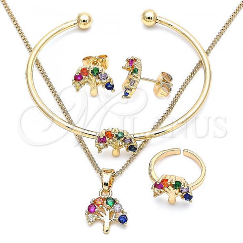 Gold Layered 06.210.0023.1 Earring and Pendant Children Set, Tree Design, with Multicolor Cubic Zirconia, Polished Finish, Golden Tone