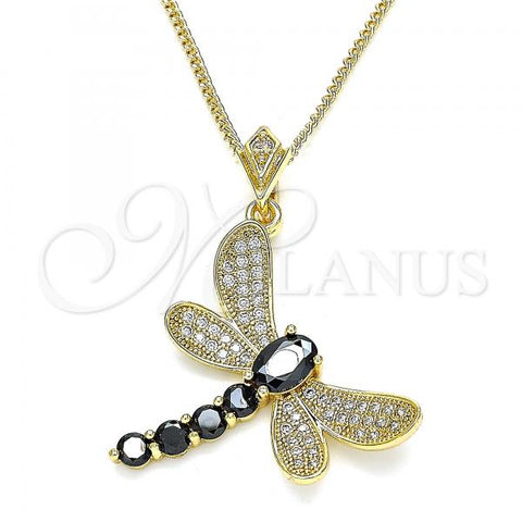 Gold Layered 04.283.0001.3.20 Pendant Necklace, Dragon-Fly Design, with Black Cubic Zirconia and White Micro Pave, Polished Finish, Golden Tone