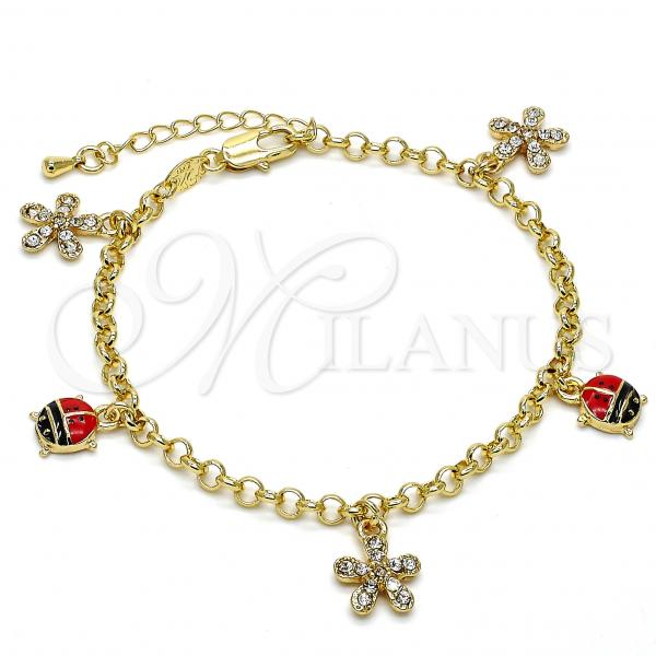 Gold Layered 03.63.1364.07 Charm Bracelet, Flower and Ladybug Design, with White Crystal, Multicolor Enamel Finish, Golden Tone