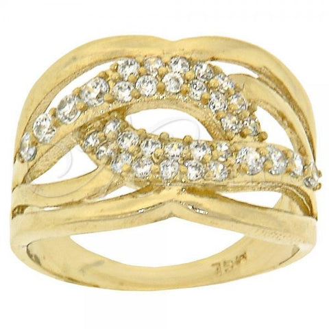 Gold Layered Multi Stone Ring, Twist Design, with Cubic Zirconia, Golden Tone