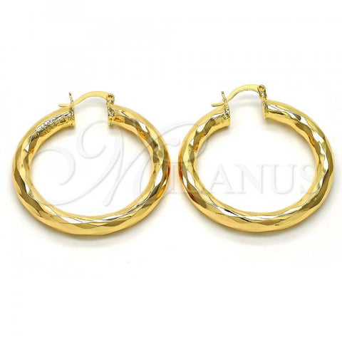 Gold Layered Medium Hoop, Hollow Design, Golden Tone