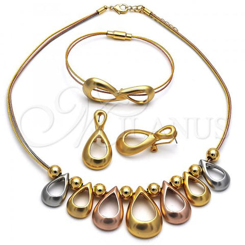 Gold Layered 06.333.0008 Necklace, Bracelet and Earring, Teardrop and Ball Design, Polished Finish, Tri Tone