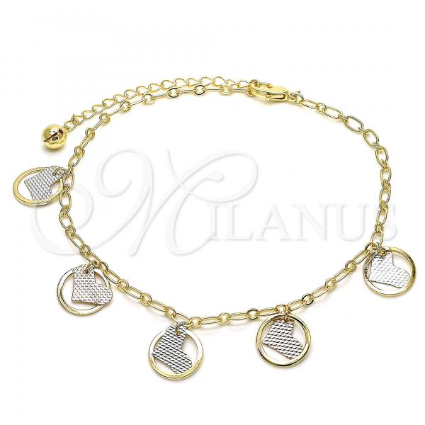 Gold Layered 03.331.0036.10 Charm Anklet , Heart and Rattle Charm Design, Polished Finish, Tri Tone
