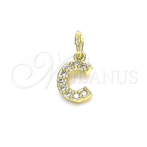 Gold Layered 05.341.0023 Fancy Pendant, Initials Design, with White Cubic Zirconia, Polished Finish, Golden Tone