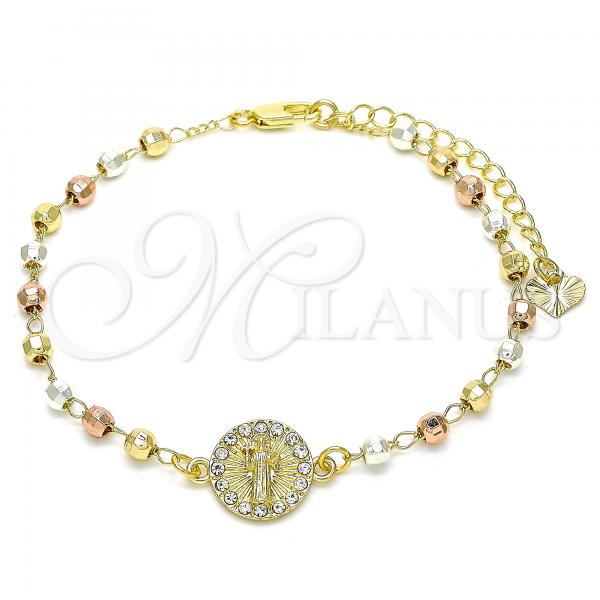 Gold Layered 03.253.0060.07 Fancy Bracelet, San Benito Design, with White Crystal, Polished Finish, Tri Tone