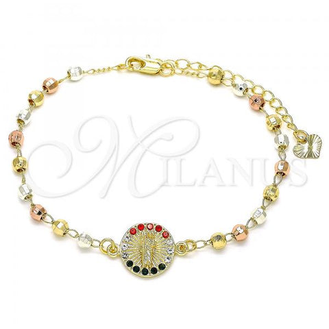 Gold Layered 03.253.0061.1.07 Fancy Bracelet, San Judas Design, with Multicolor Crystal, Polished Finish, Tri Tone