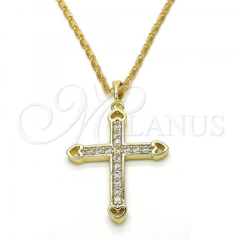Gold Layered 04.26.0044.22 Fancy Necklace, Cross and Heart Design, with White Cubic Zirconia, Polished Finish, Golden Tone