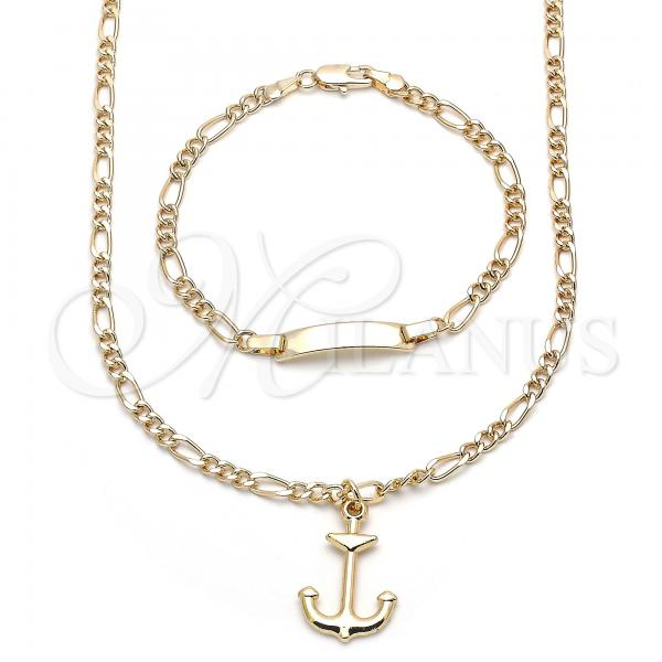 Gold Layered 06.63.0229 Earring and Pendant Children Set, Anchor Design, Polished Finish, Golden Tone