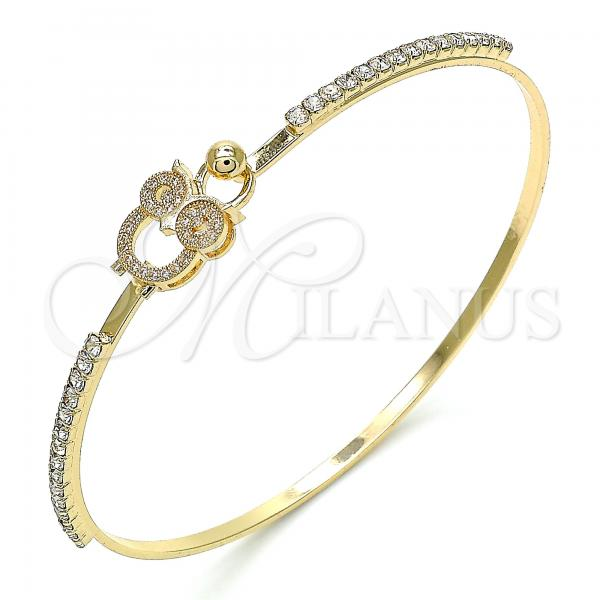 Gold Layered 07.193.0025.04 Individual Bangle, Owl Design, with White Micro Pave and White Crystal, Polished Finish, Golden Tone (02 MM Thickness, Size 4 - 2.25 Diameter)