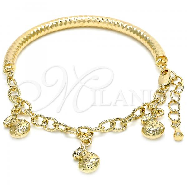 Gold Layered 03.63.1866.08 Charm Bracelet, Hollow Design, Diamond Cutting Finish, Golden Tone