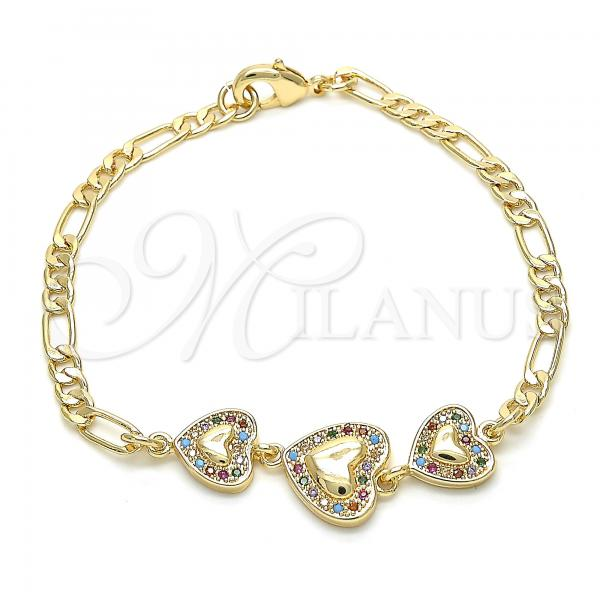 Gold Layered 03.233.0036.08 Fancy Bracelet, Heart Design, with Multicolor Cubic Zirconia, Polished Finish, Golden Tone