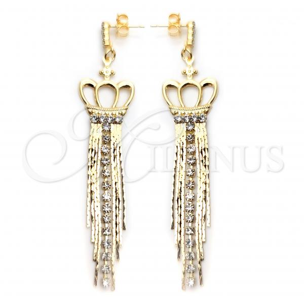 Gold Layered 02.58.0002 Long Earring, Crown Design, with White Cubic Zirconia, Polished Finish, Golden Tone