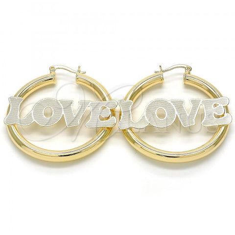 Gold Layered Medium Hoop, Nameplate and Love Design, Golden Tone