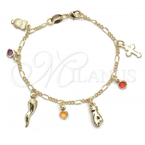 Gold Layered 03.32.0336.06 Charm Bracelet, Owl and Hand Design, with Lavender and Orange Opal, Polished Finish, Golden Tone