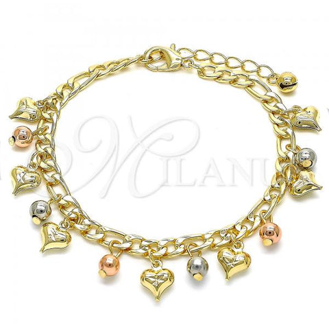 Gold Layered 03.331.0033.08 Charm Bracelet, Heart and Ball Design, Polished Finish, Tri Tone