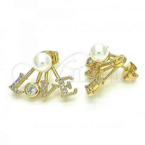 Gold Layered 02.156.0347 Stud Earring, Ball and Love Design, with Ivory Pearl and White Cubic Zirconia, Polished Finish, Golden Tone