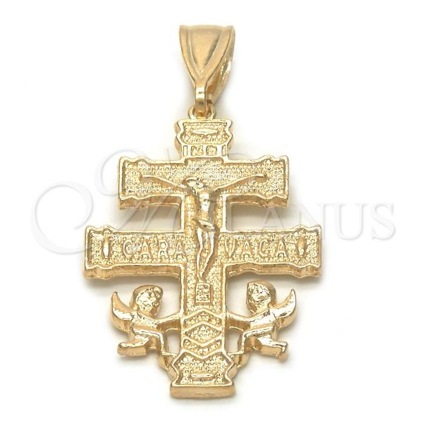 Gold Layered 05.32.0060 Religious Pendant, Crucifix and Angel Design, Polished Finish, Golden Tone