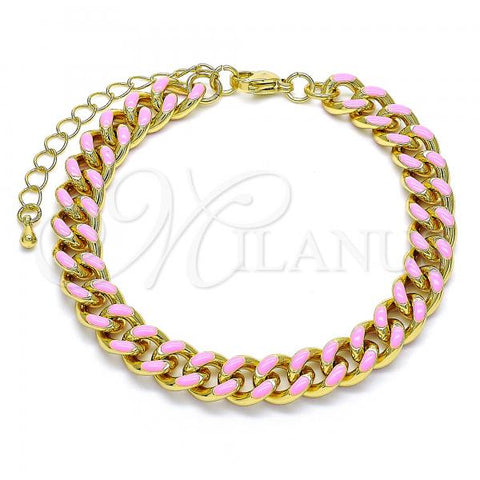 Gold Layered 03.341.0075.1.07 Basic Bracelet, Miami Cuban Design, Pink Enamel Finish, Golden Tone