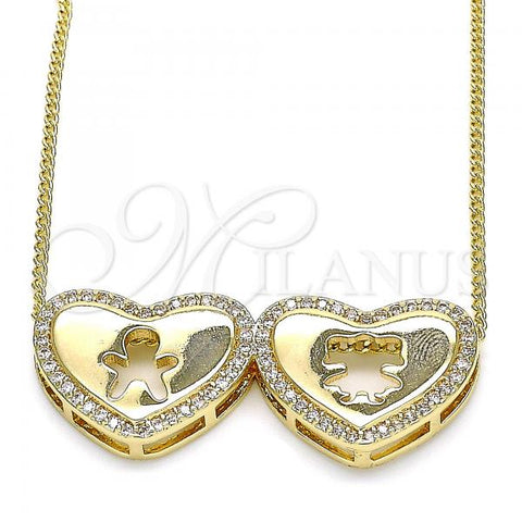 Gold Layered 04.156.0257.20 Pendant Necklace, Heart and Little Girl Design, with White Micro Pave, Polished Finish, Golden Tone