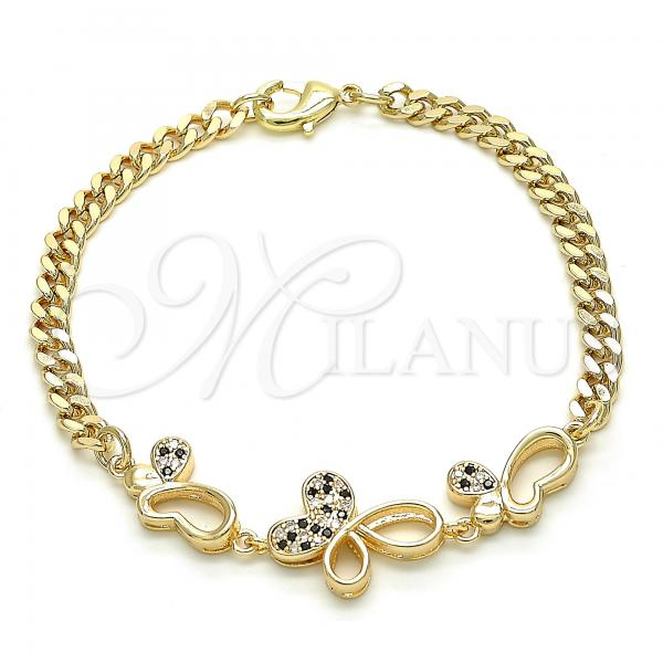 Gold Layered 03.233.0038.08 Fancy Bracelet, Butterfly Design, with Black and White Cubic Zirconia, Polished Finish, Golden Tone