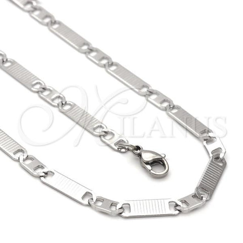 Stainless Steel 04.113.0056.24 Necklace and Bracelet, Mariner Design, Diamond Cutting Finish, Steel Tone