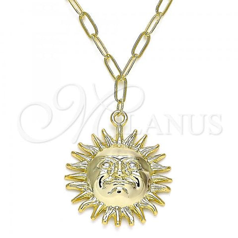 Gold Layered 04.60.0016.18 Pendant Necklace, Sun Design, with White Micro Pave, Polished Finish, Golden Tone