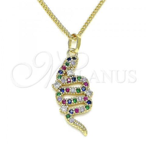 Gold Layered 04.284.0039.1.20 Pendant Necklace, Snake Design, with Multicolor Micro Pave, Polished Finish, Golden Tone