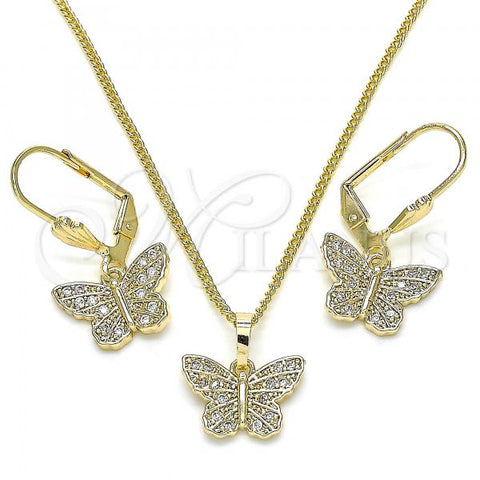Gold Layered 10.284.0012 Earring and Pendant Adult Set, Butterfly Design, with White Micro Pave, Polished Finish, Golden Tone
