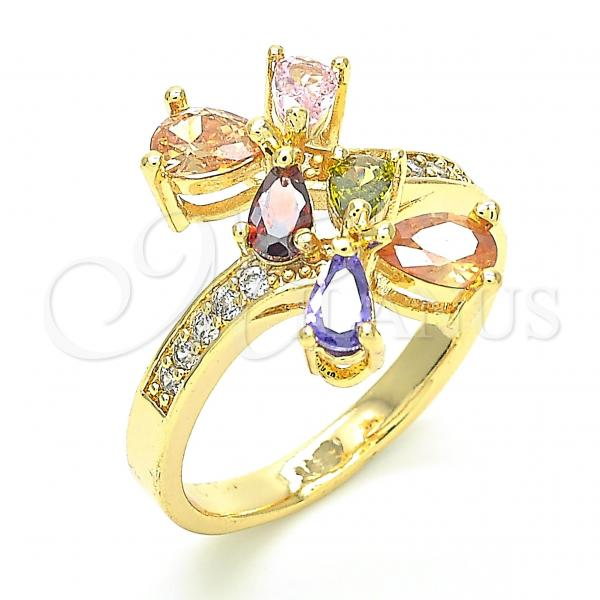 Gold Layered Multi Stone Ring, Teardrop Design, with Cubic Zirconia, Golden Tone