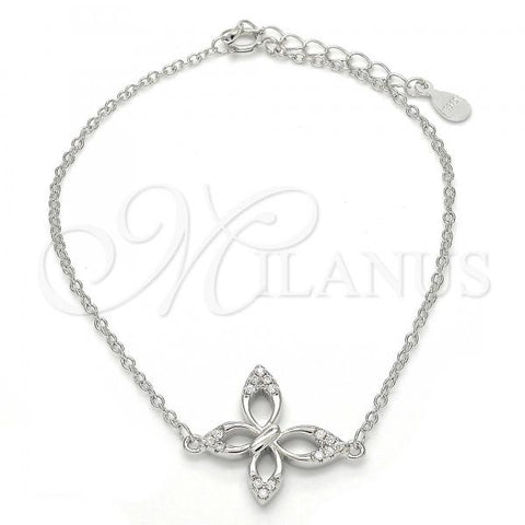 Sterling Silver 03.336.0013.07 Fancy Bracelet, Butterfly Design, with White Crystal, Polished Finish, Rhodium Tone