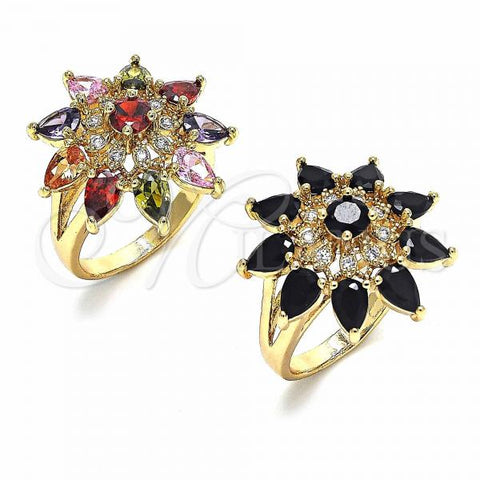 Gold Layered Multi Stone Ring, Flower and Teardrop Design, with Cubic Zirconia, Golden Tone