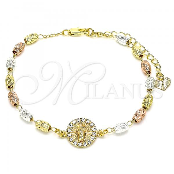 Gold Layered 03.253.0058.07 Fancy Bracelet, San Judas Design, with White Crystal, Diamond Cutting Finish, Tri Tone