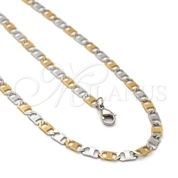 Stainless Steel 04.113.0051.24 Necklace and Bracelet, Mariner Design, Two Tone