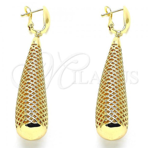 Gold Layered 02.163.0121 Dangle Earring, Teardrop Design, Polished Finish, Golden Tone