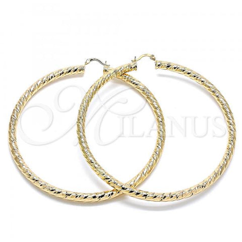 Gold Layered 02.170.0313.90 Extra Large Hoop, Hollow Design, Diamond Cutting Finish, Golden Tone