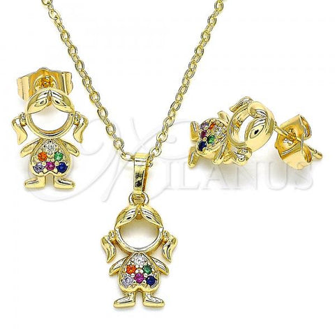 Gold Layered 10.210.0151.1 Earring and Pendant Adult Set, Little Girl Design, with Multicolor Micro Pave, Polished Finish, Golden Tone