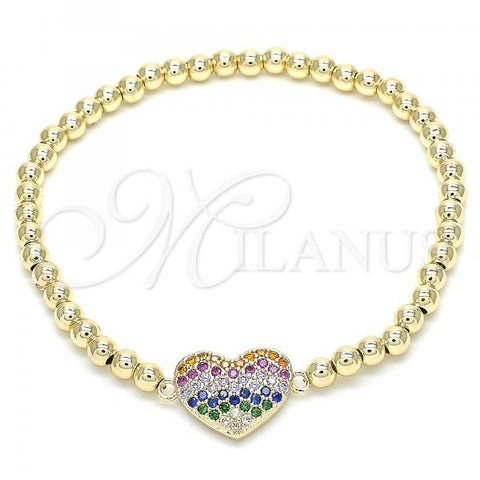 Gold Layered 03.299.0031.07 Fancy Bracelet, Heart Design, with Multicolor Cubic Zirconia, Polished Finish, Golden Tone