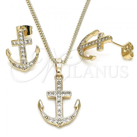 Gold Layered 10.284.0006 Earring and Pendant Adult Set, Anchor Design, with White Micro Pave, Polished Finish, Golden Tone