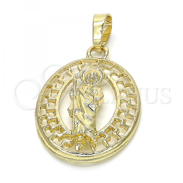 Gold Layered 05.213.0006 Religious Pendant, San Judas Design, Polished Finish, Golden Tone