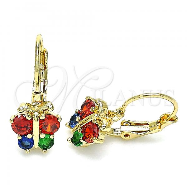 Gold Layered 02.210.0381.3 Leverback Earring, Butterfly Design, with Multicolor Cubic Zirconia, Polished Finish, Golden Tone
